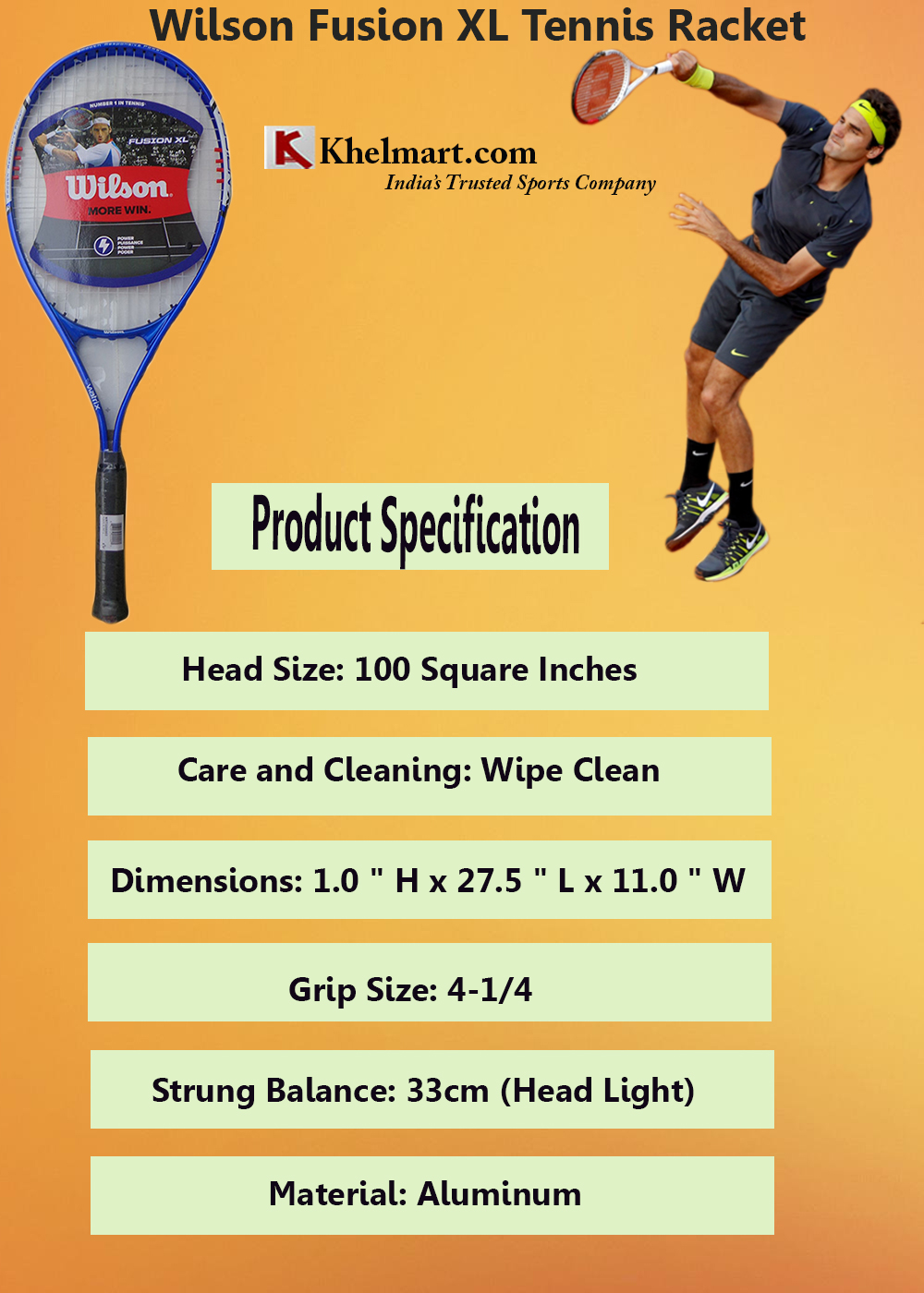 Specification of Wilson Fusion XL tennis racket