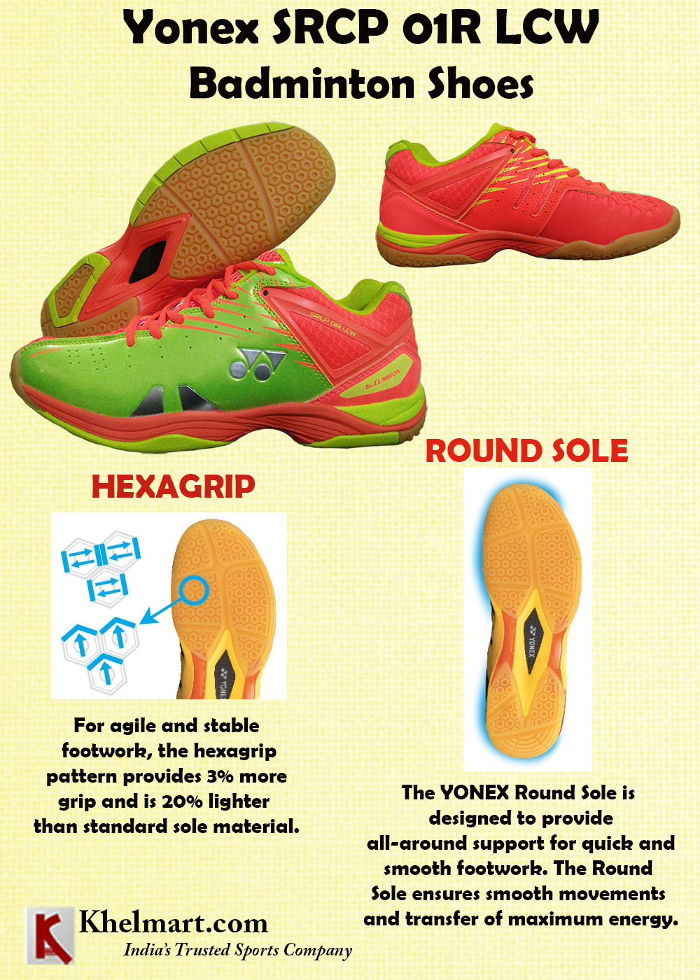 Yonex SRCP 01R LCW Badminton Shoes Orange and Lime Green
