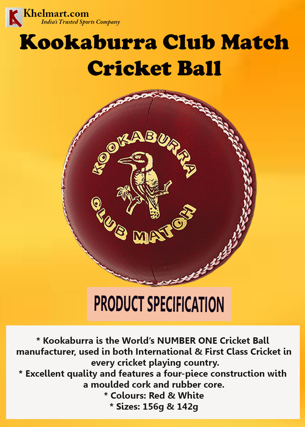 Kookaburra Club Match Cricket Ball