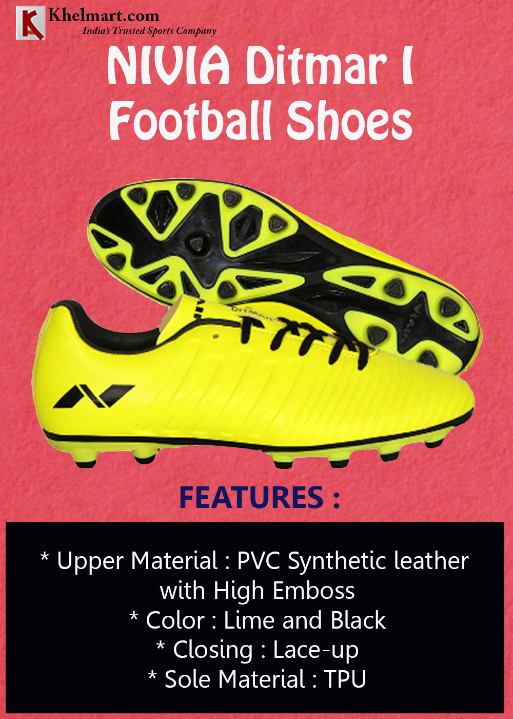 NIVIA Ditmar I Football Shoes Lime