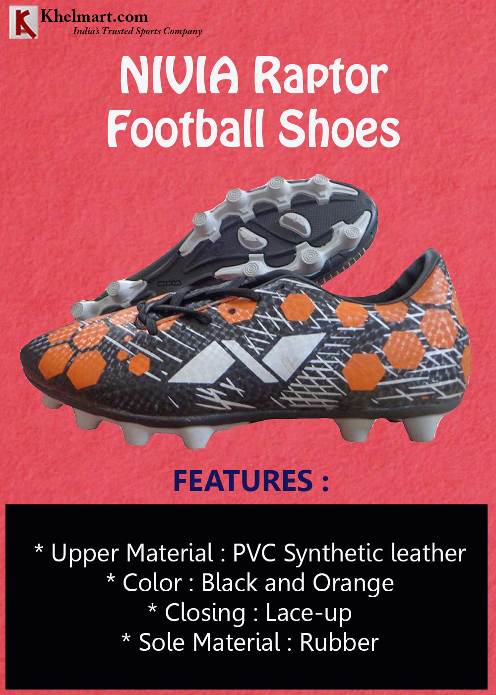 NIVIA Raptor Football Shoes Black and Orange
