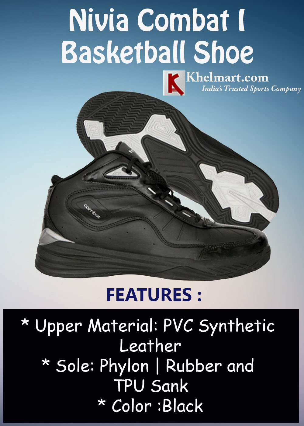 Nivia Combat I Basketball Shoe Black