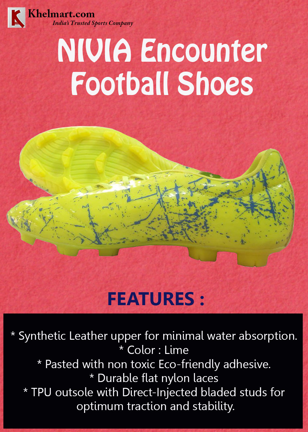 Nivia Encounter Football Shoes Lime
