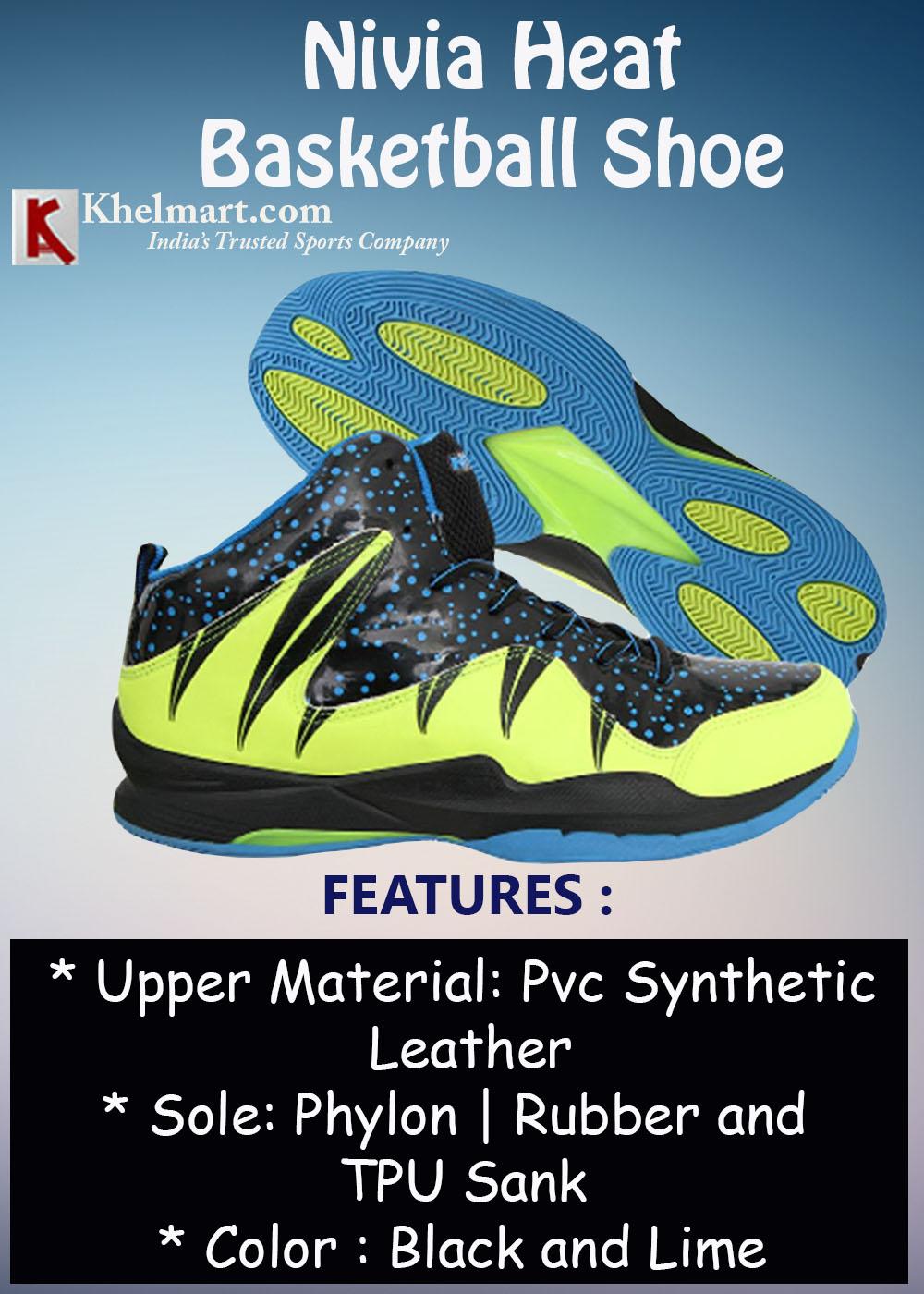Nivia Heat Basketball Shoe Black and Lime