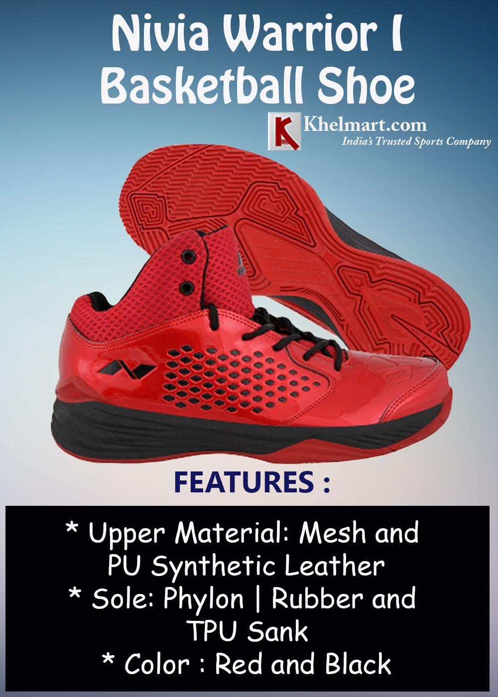 Nivia Warrior I Basketball Shoe Red and Black