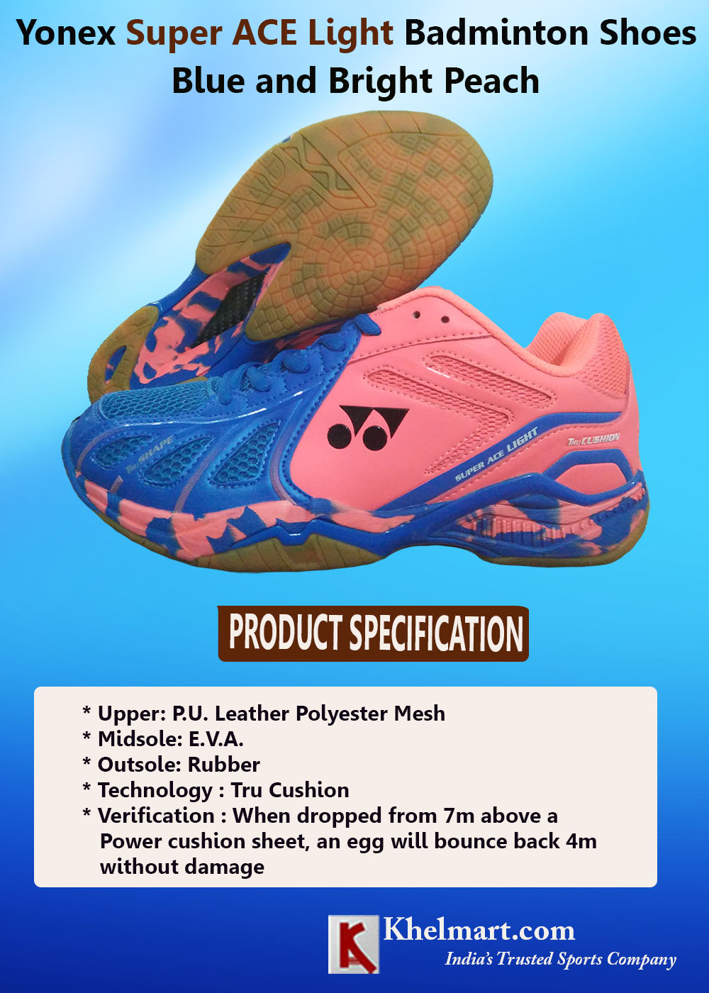 Yonex Super ACE Light Badminton Shoes Blue and Bright Peach