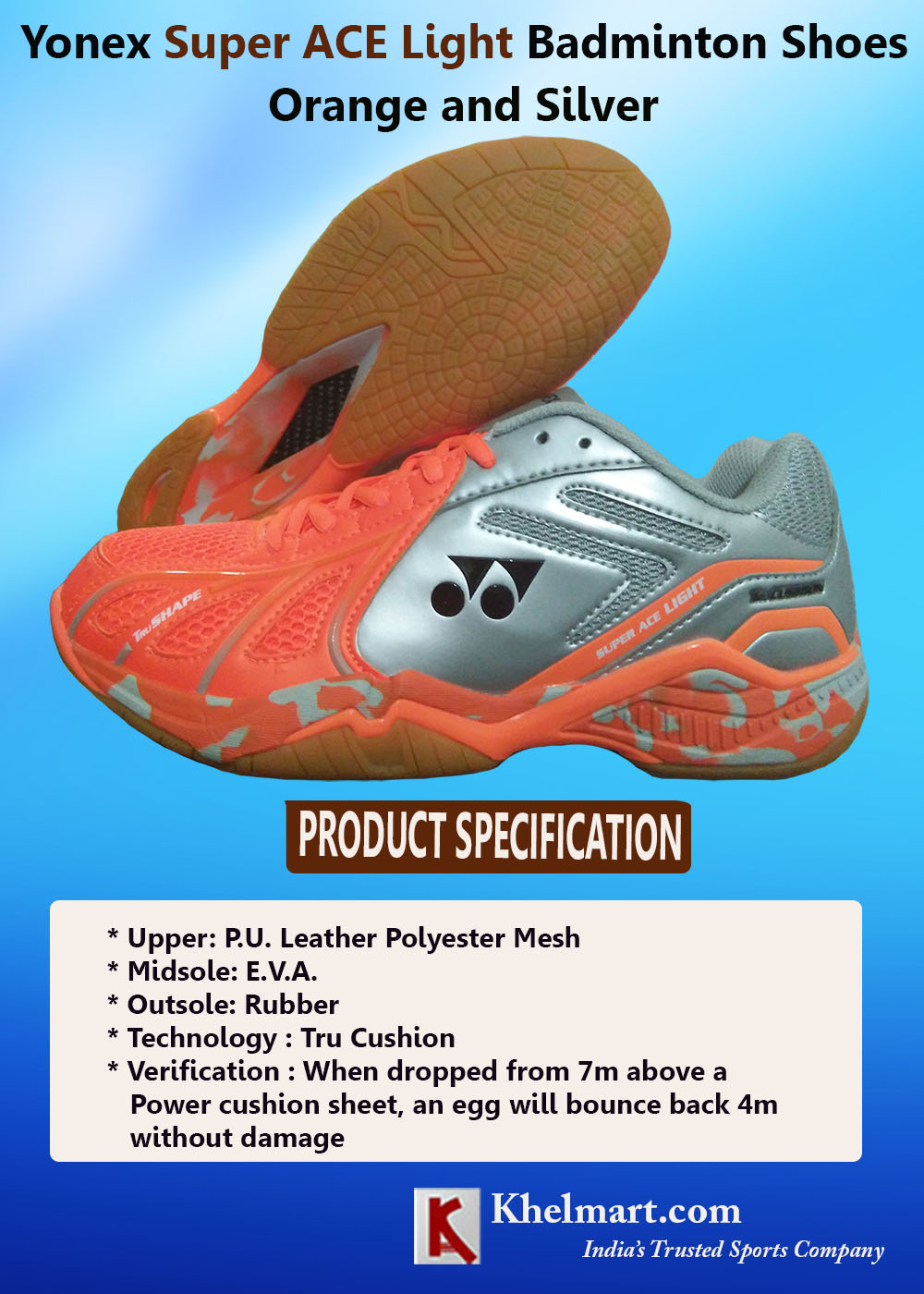 Yonex Super ACE Light Badminton Shoes Orange and Silver