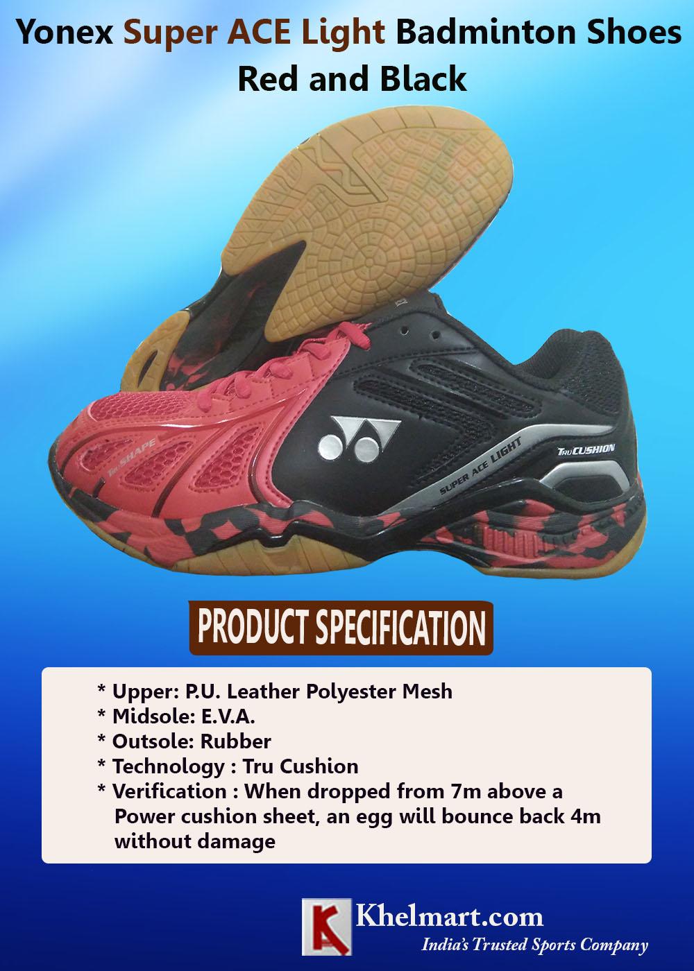 Yonex Super ACE Light Badminton Shoes Red and Black