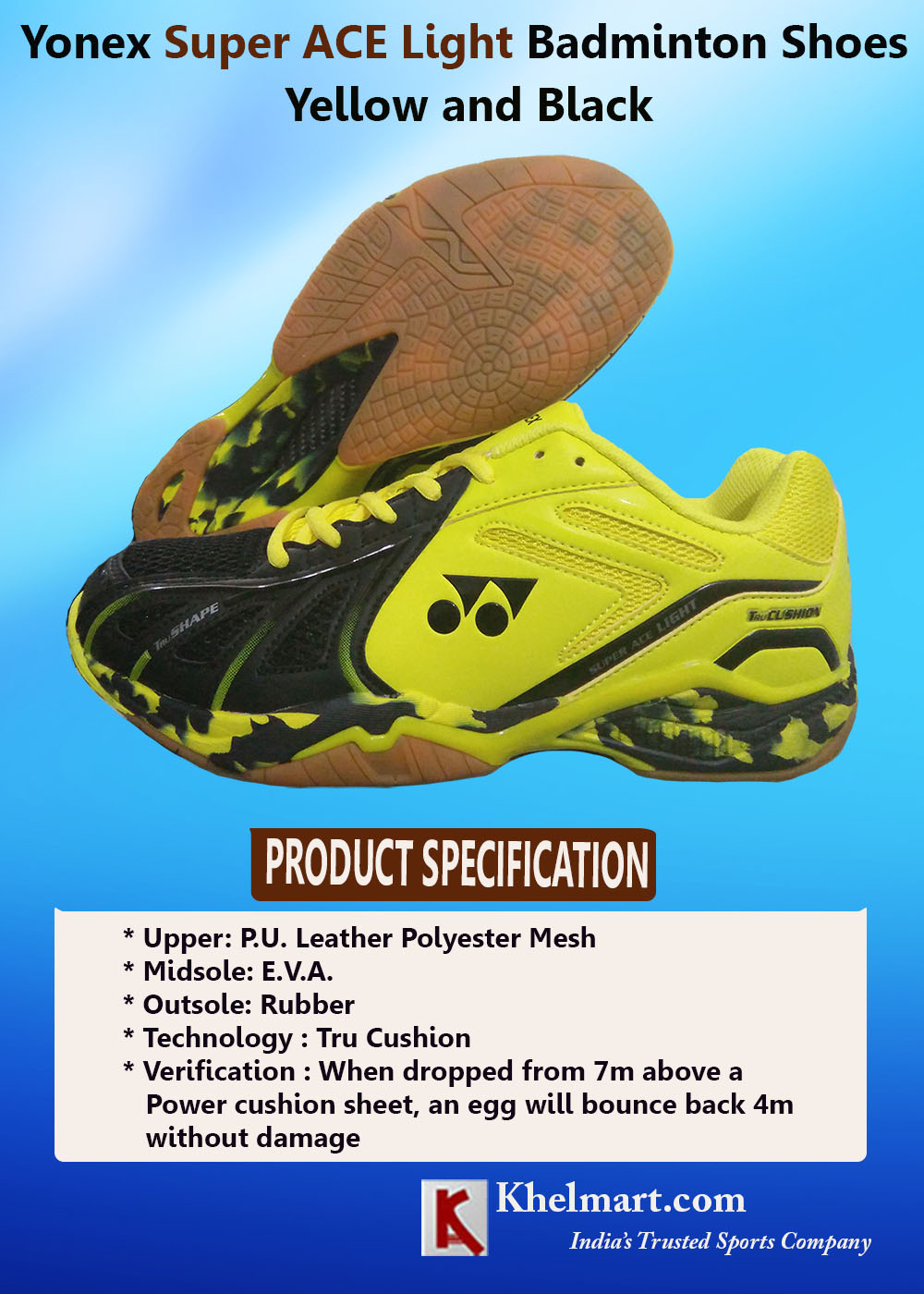 Yonex Super ACE Light Badminton Shoes Yellow and Black