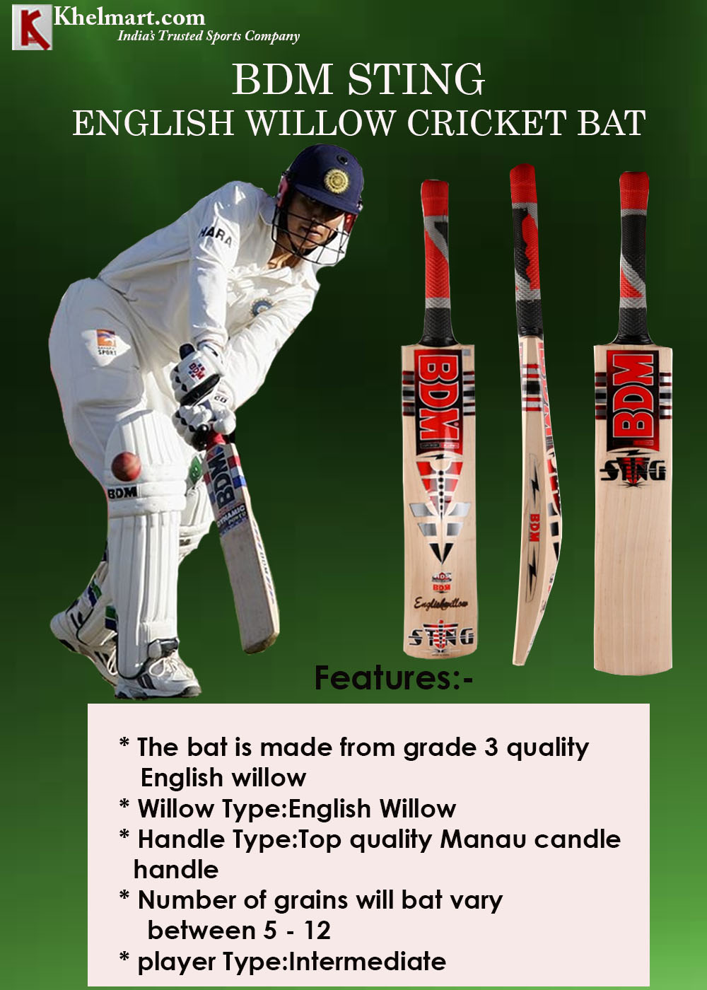 BDM Sting English Willow Cricket Bat