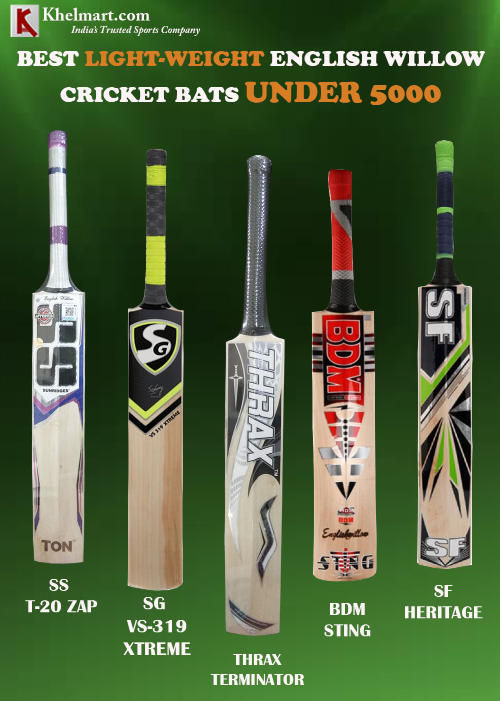 BEST LIGHT WEIGHT ENGLISH WILLOW CRICKET BATS UNDER 5000