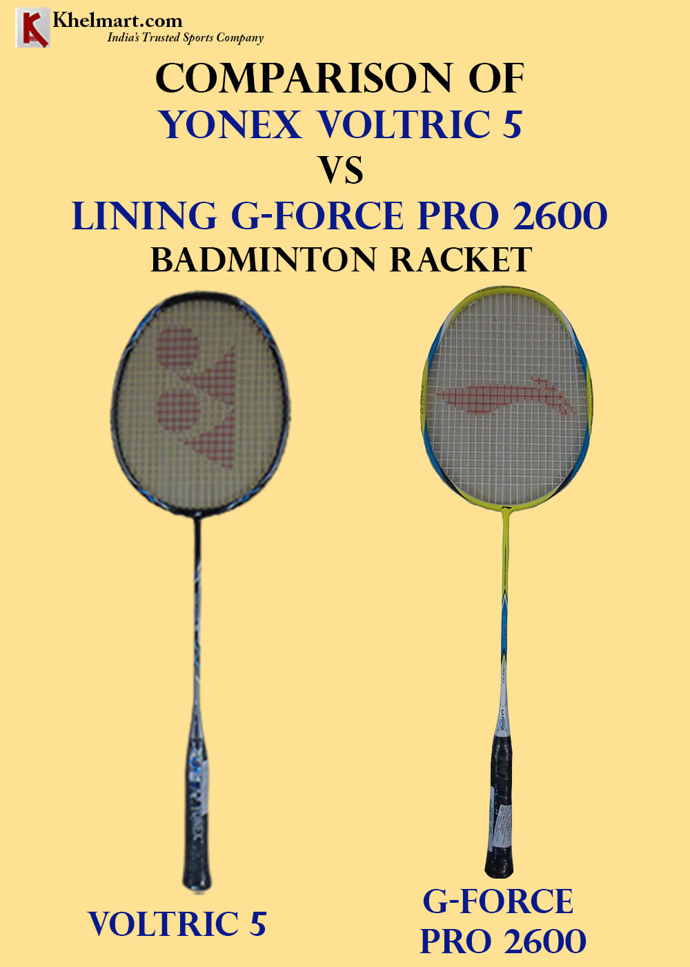 Comparison of Yonex Voltric 5 VS LiNing G Force Pro 2600_1