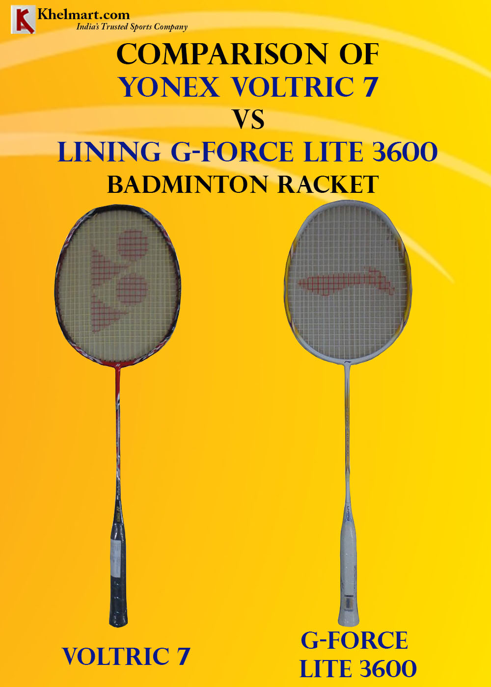 Comparison of Yonex Voltric 7 VS LiNing G Force Lite 3600_1