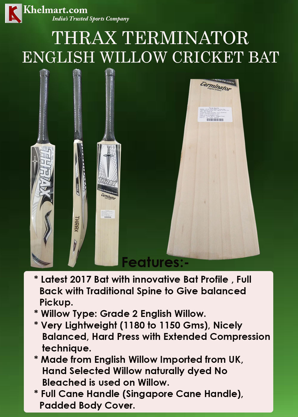 Thrax Terminator English Willow Cricket Bat