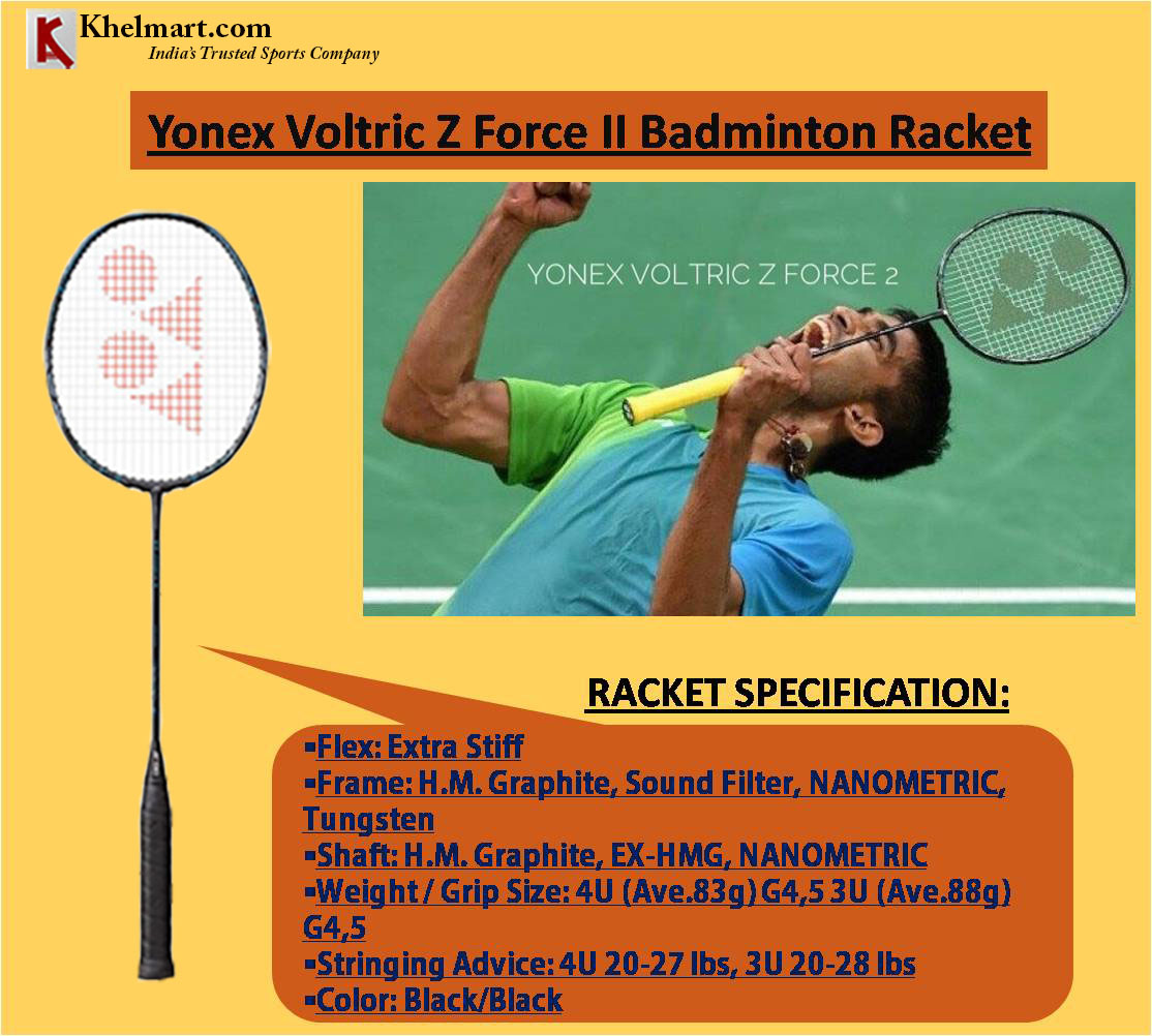 Srikanth Kidambi racket YONEX Voltric Z Force II Black Badminton Racket