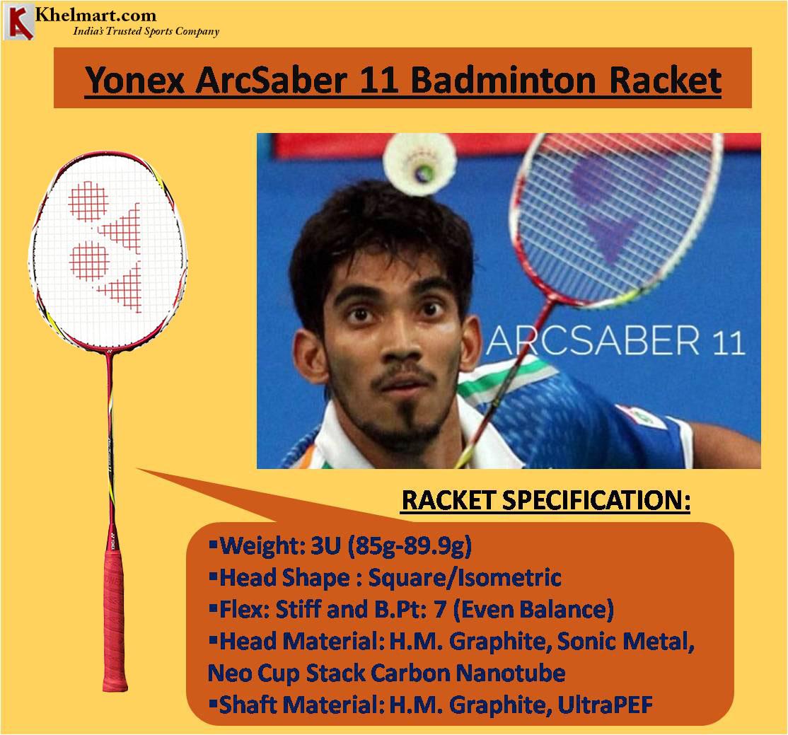 Srikanth Kidambi racket Yonex Arcsaber 11 Badminton Racket