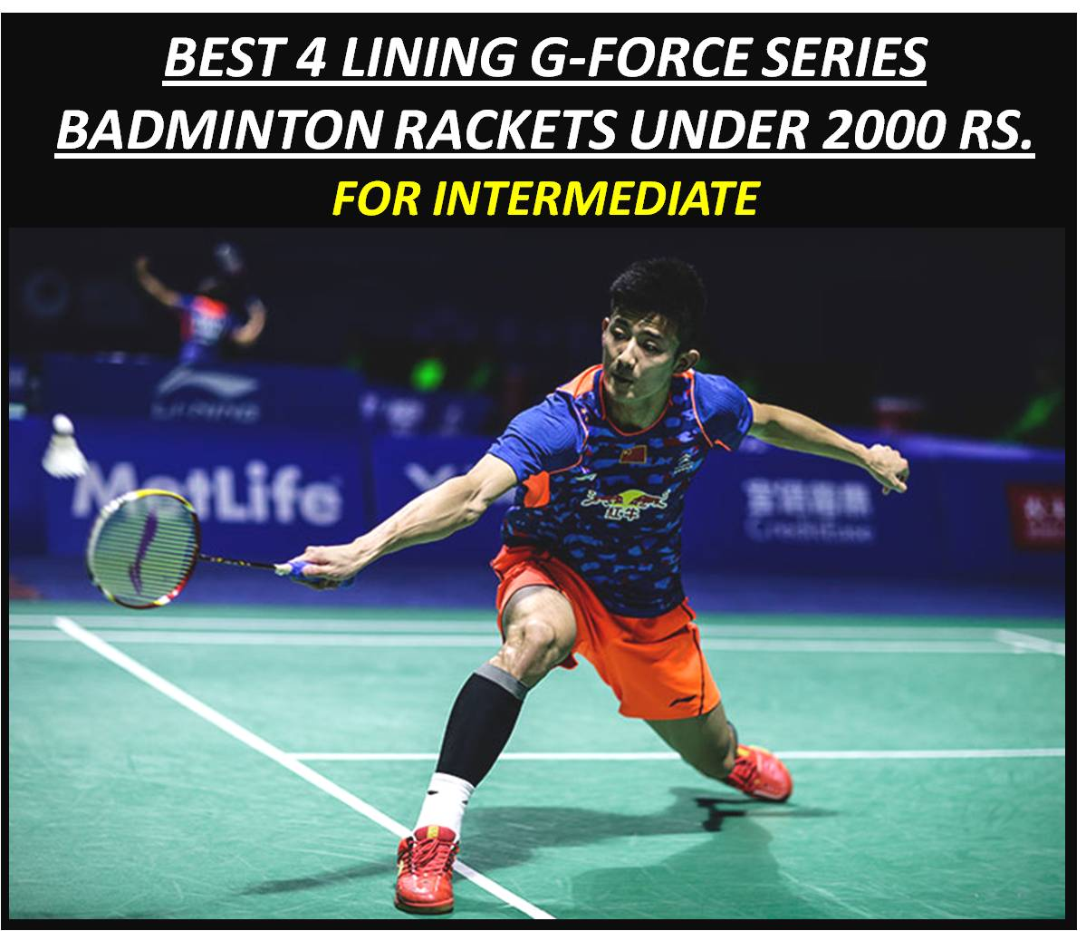BEST 4 LINING G-FORCE SERIES RACKETS UNDER 2000 RS FOR INTERMEDIATE