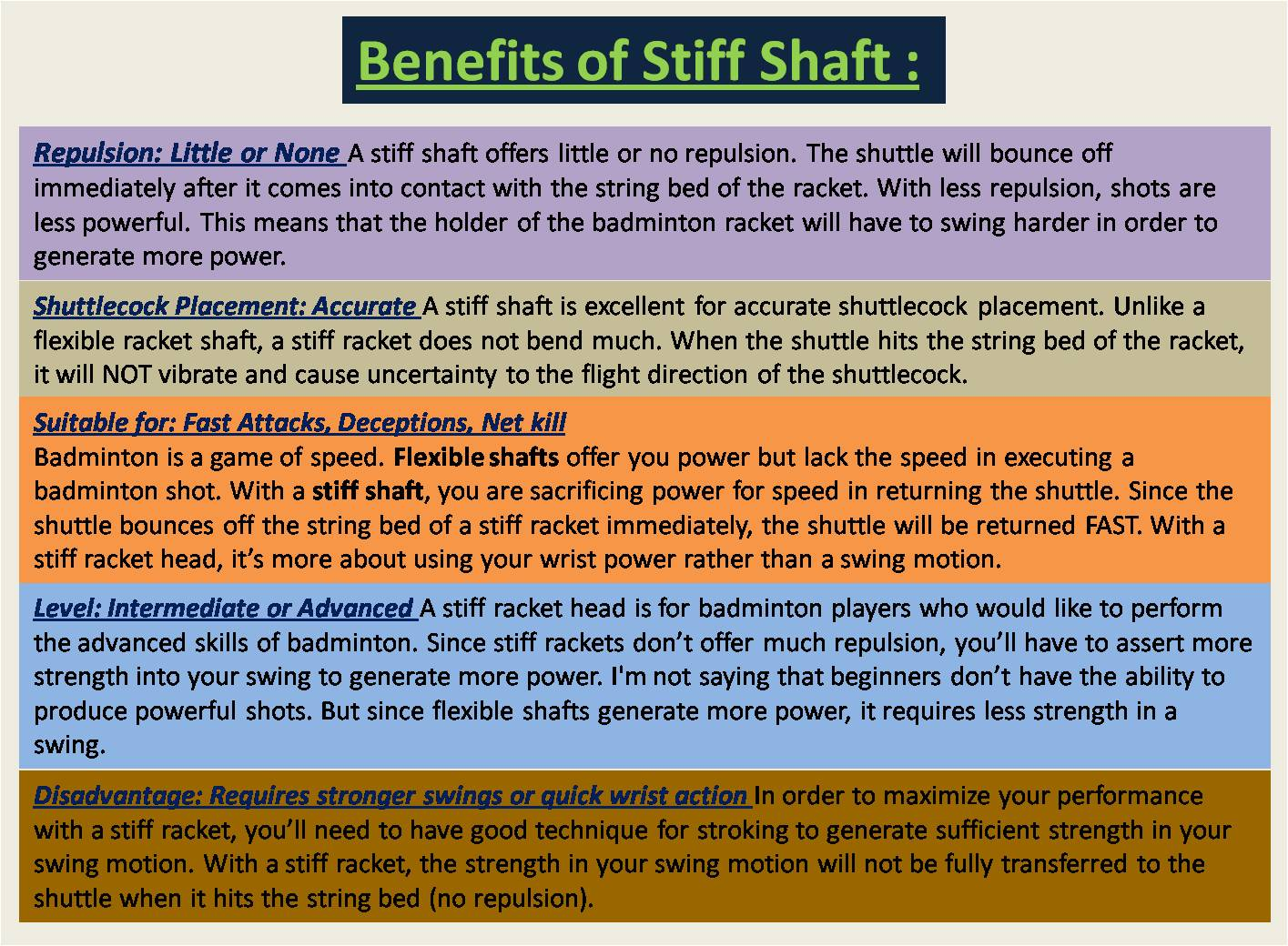 Benefits of Stiff Shaft