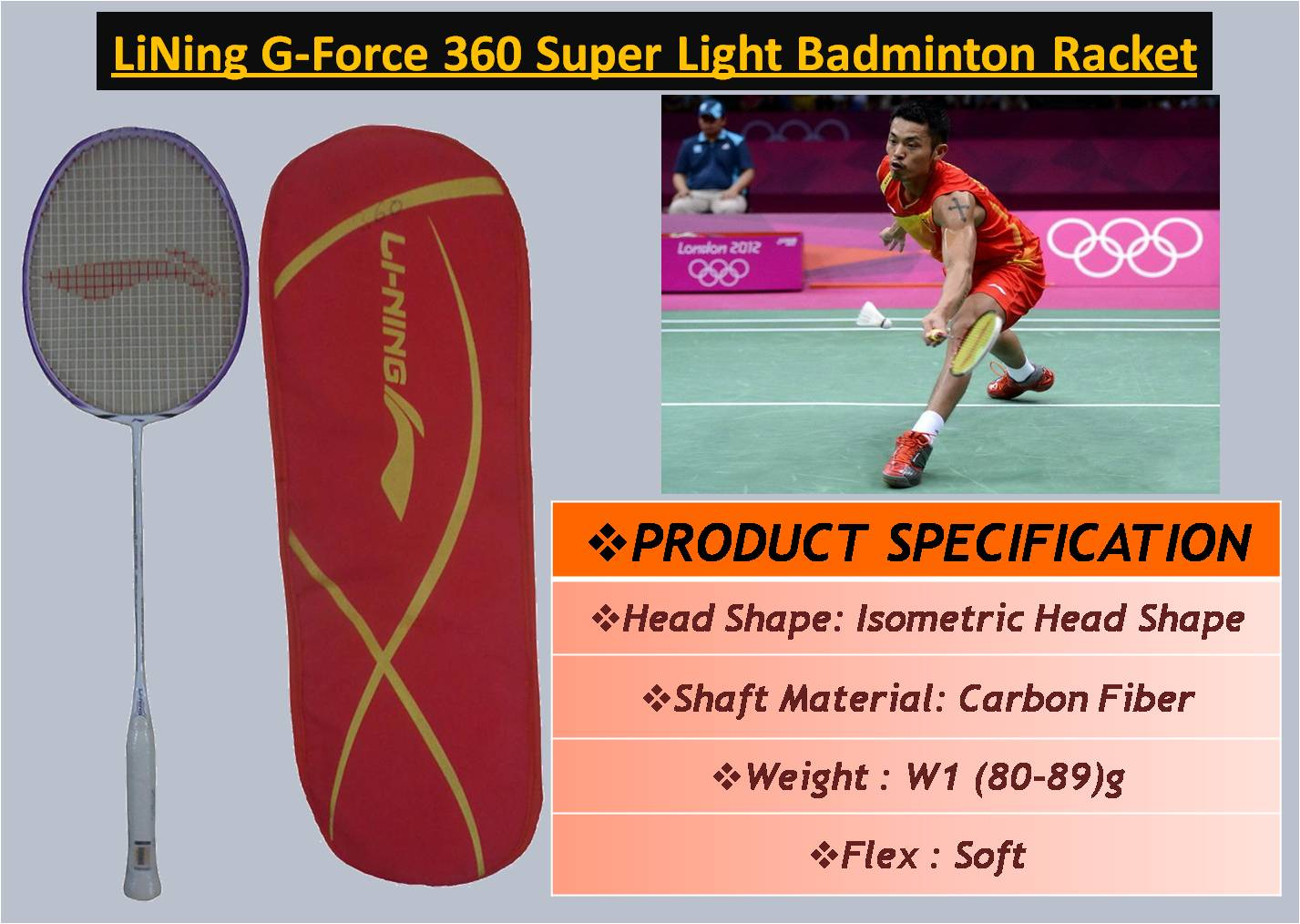 LiNing G-Force 360 Super Light Badminton Racket