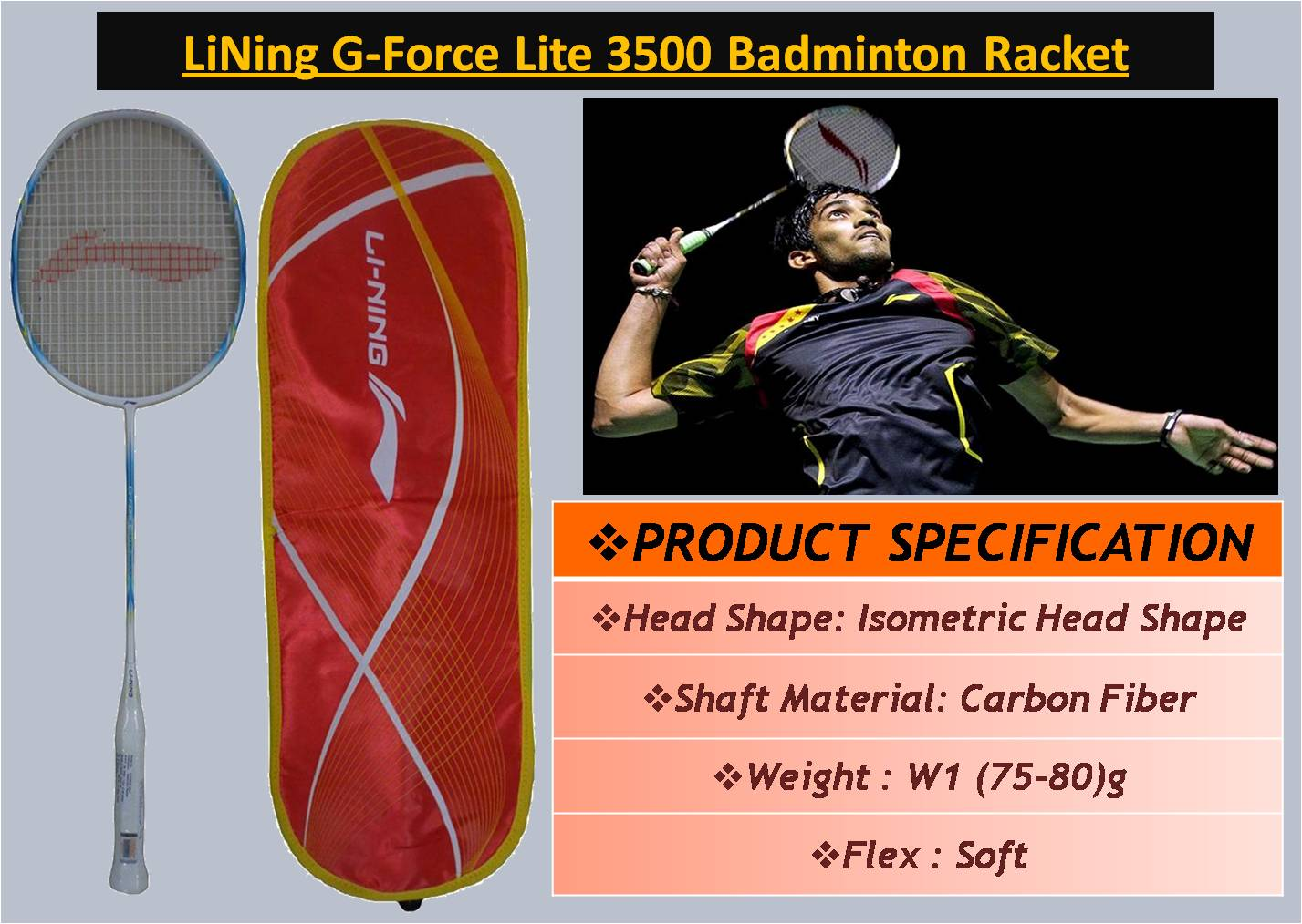 LiNing G-Force Lite 3500 Badminton Racket