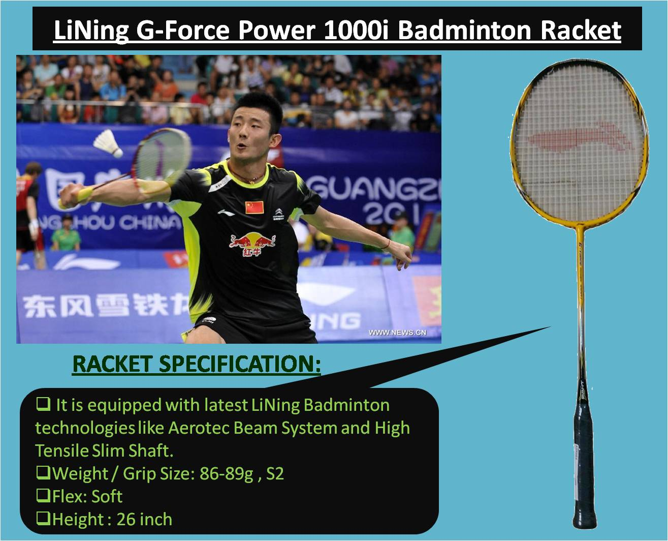 LiNing G-Force Power 1000i Badminton Racket