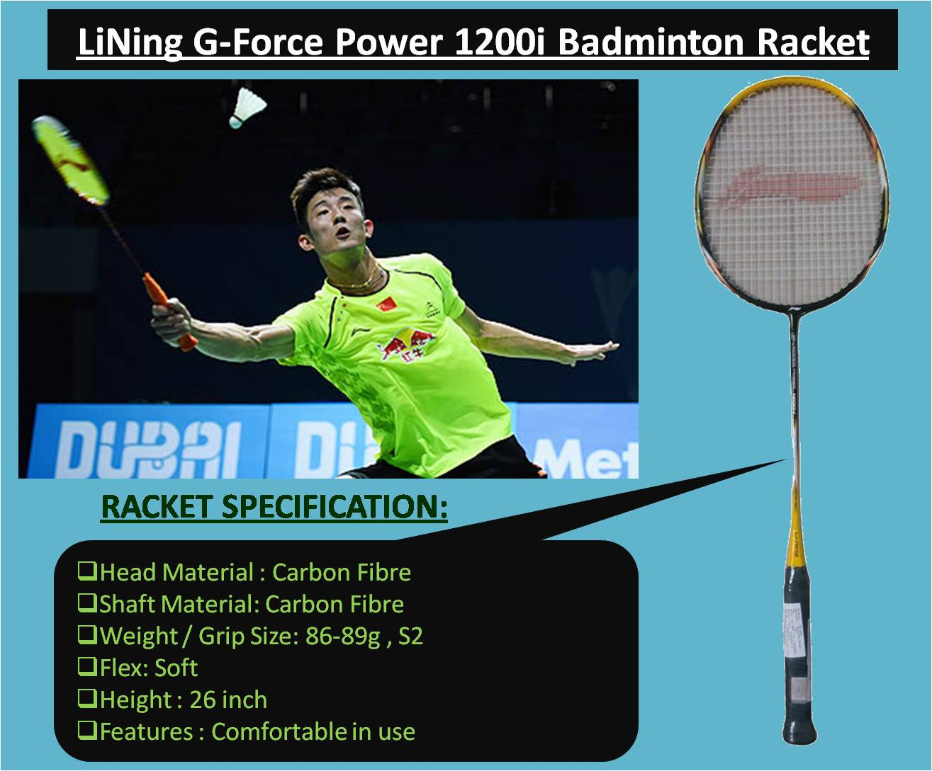 LiNing G-Force Power 1200i Badminton Racket