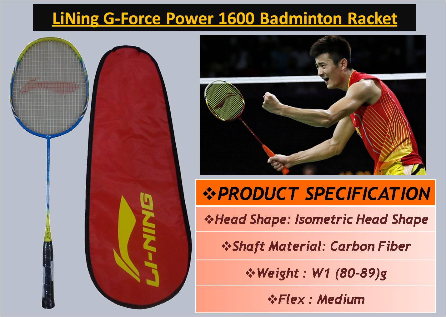 LiNing G-Force Power 1600 Badminton Racket