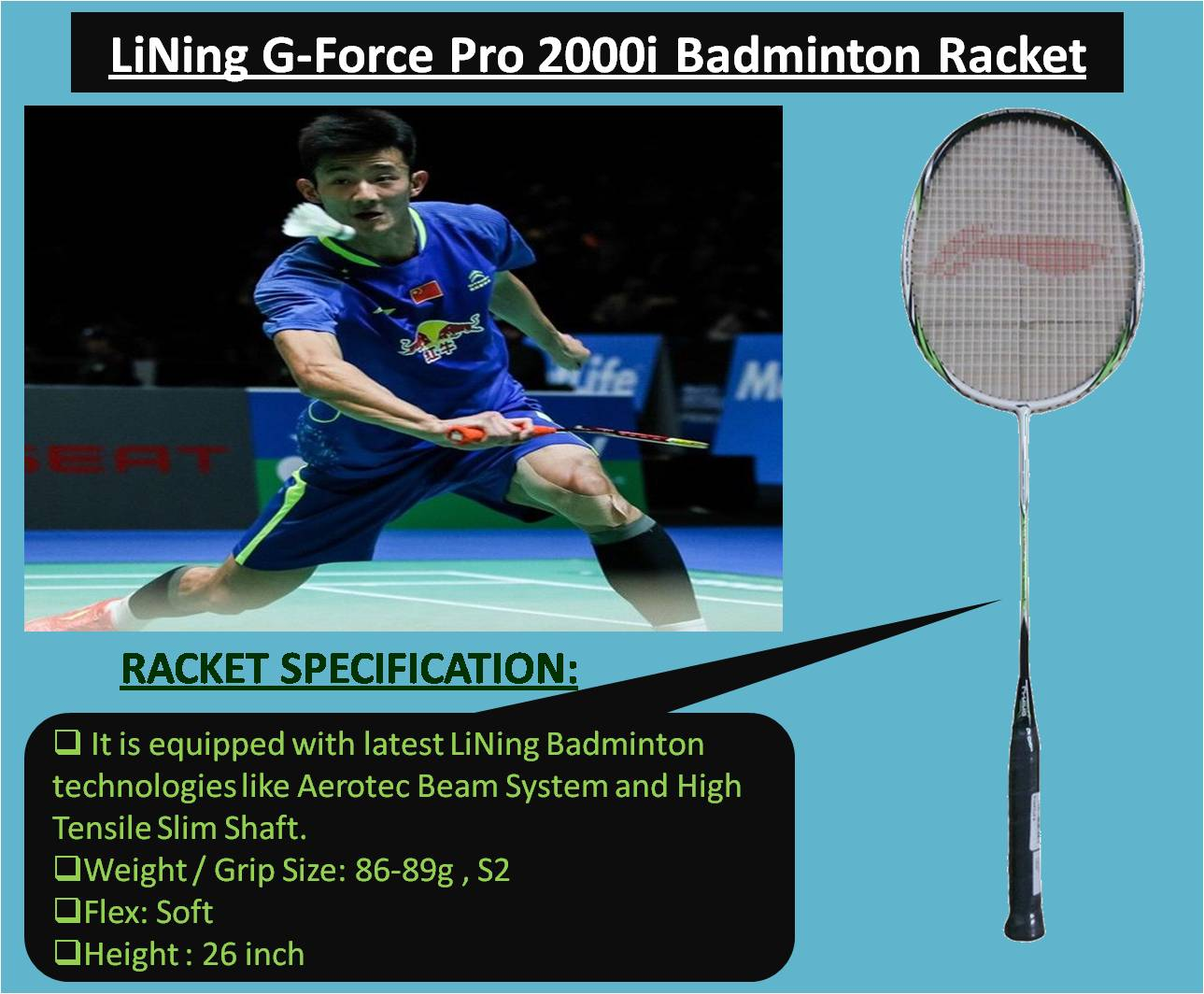 LiNing G-Force Pro 2000i Badminton Racket