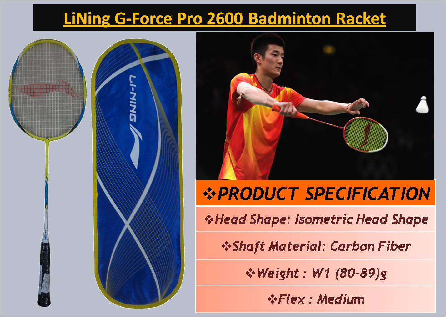 LiNing G-Force Pro 2600 Badminton Racket