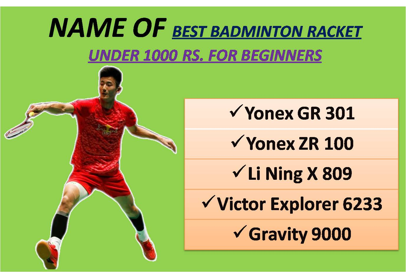 NAME OF BEST BADMINTON RACKET UNDER 1000 RS FOR BEGINNERS