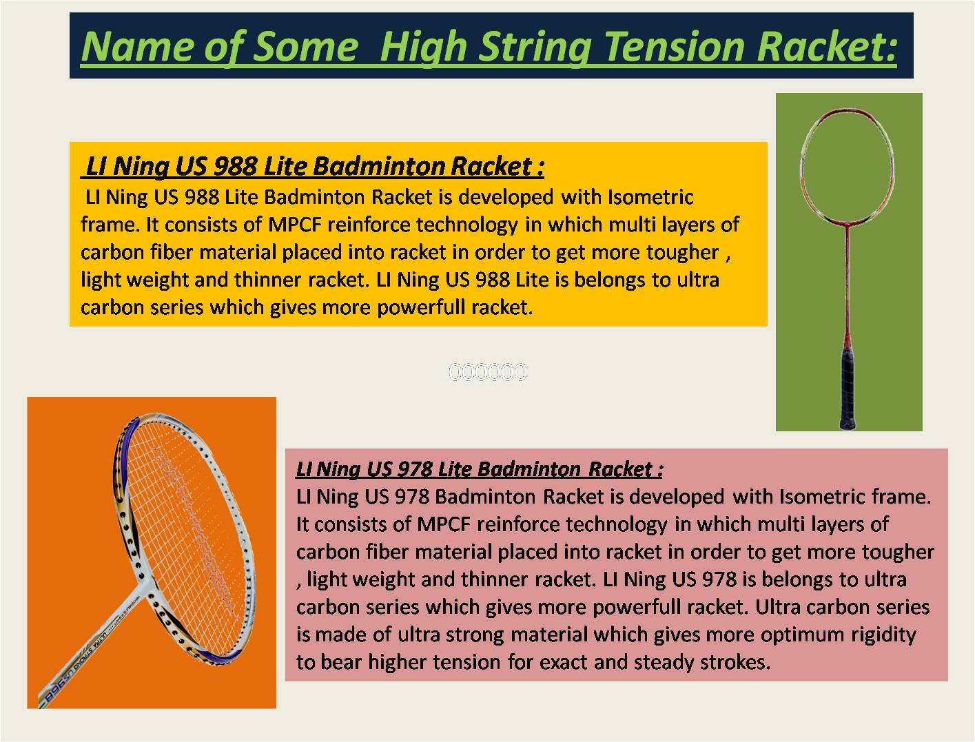 Name of Some High String Tension Badminton Racket
