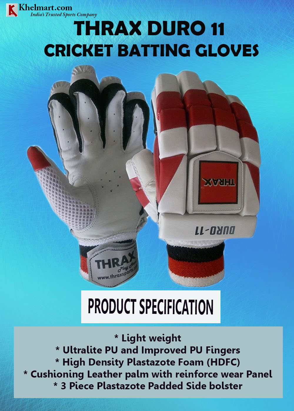 THRAX Duro 11 Cricket Batting Gloves