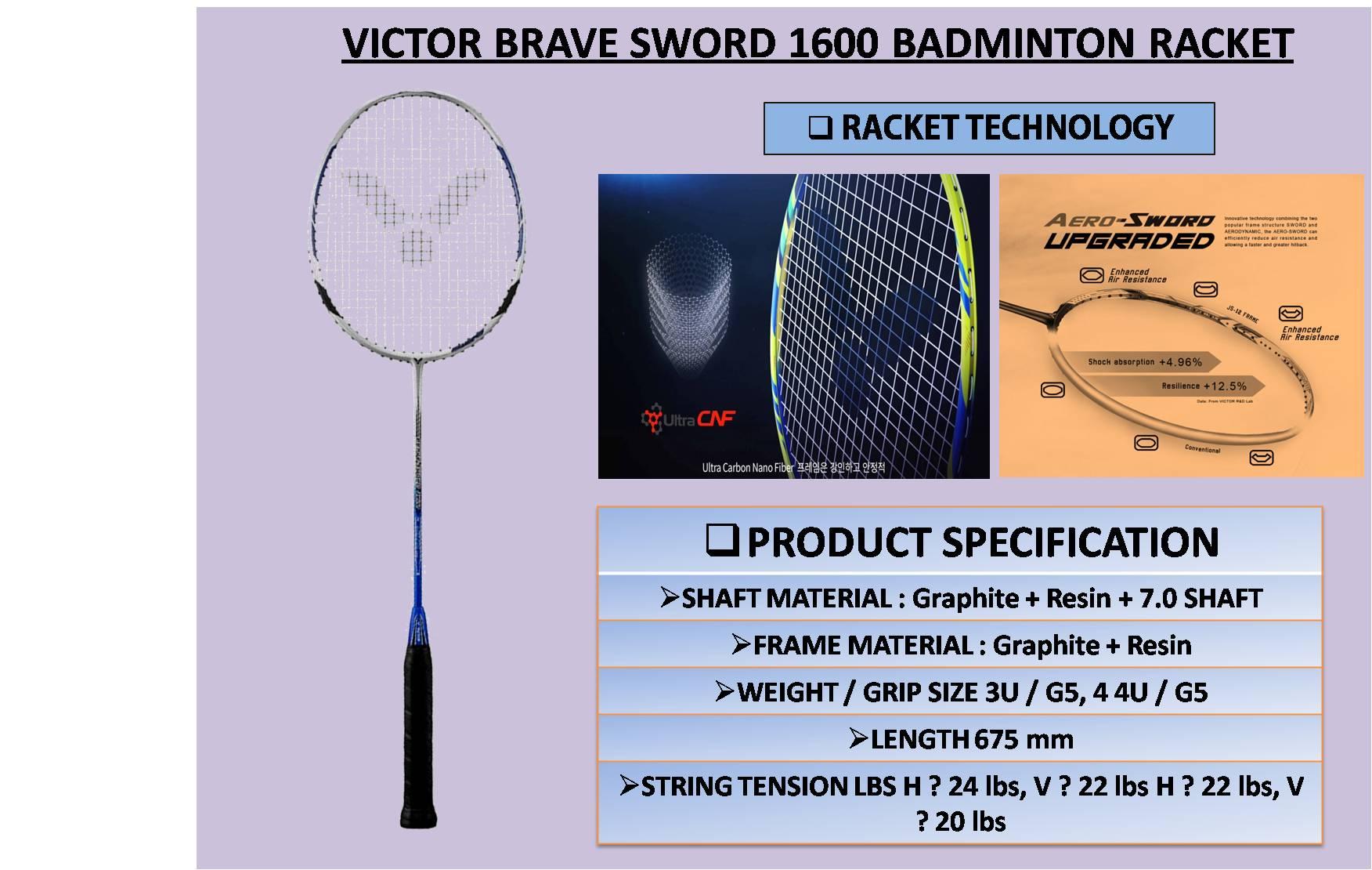 VICTOR BRAVE SWORD 1600 BADMINTON RACKET