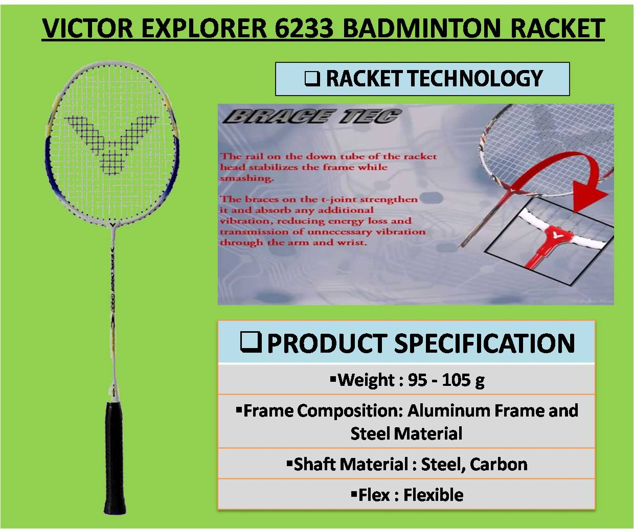 VICTOR EXPLORER 6233 BADMINTON RACKET