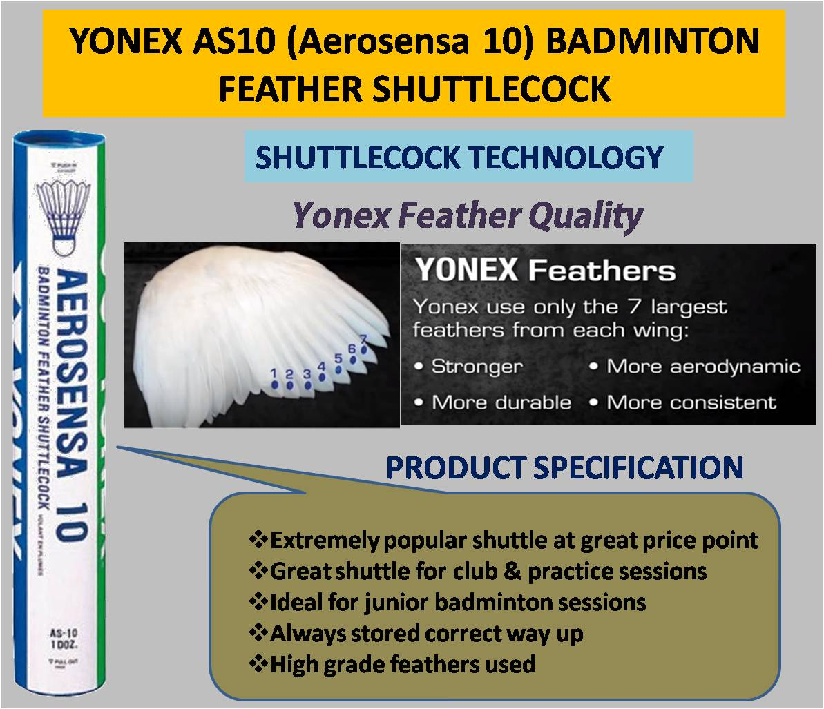 YONEX AS10 BADMINTON FEATHER SHUTTLECOCK