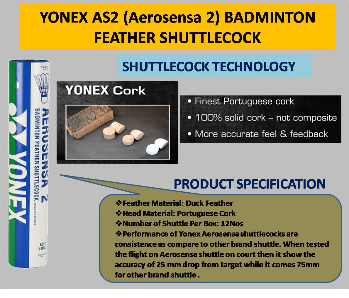 YONEX AS2 BADMINTON FEATHER SHUTTLECOCK