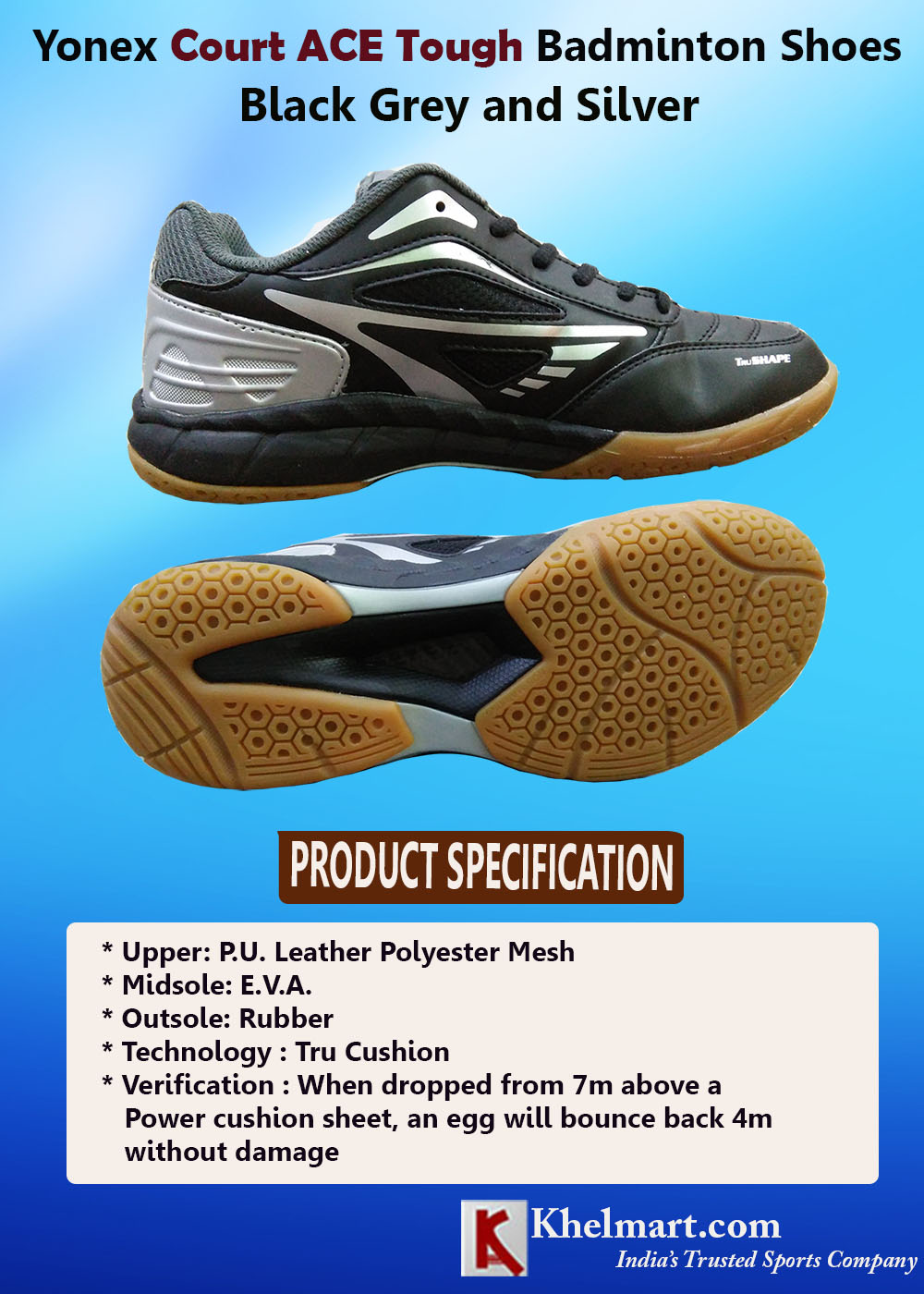 Yonex Court ACE Tough Badminton Shoes Black Grey and Silver_5