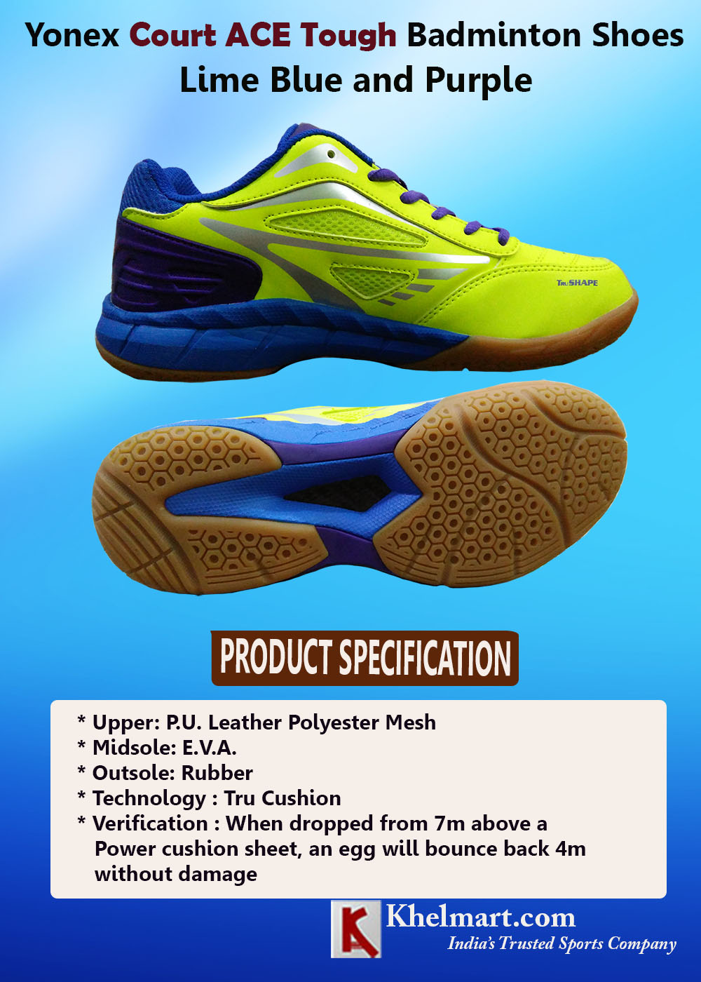 Yonex Court ACE Tough Badminton Shoes Lime Blue and Purple_3