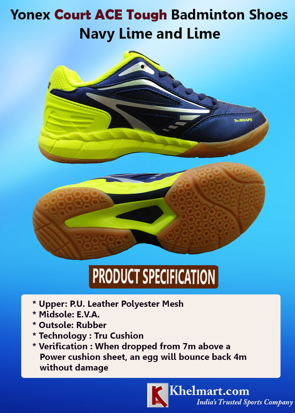 Yonex Court ACE Tough Badminton Shoes Navy Lime and Lime_4