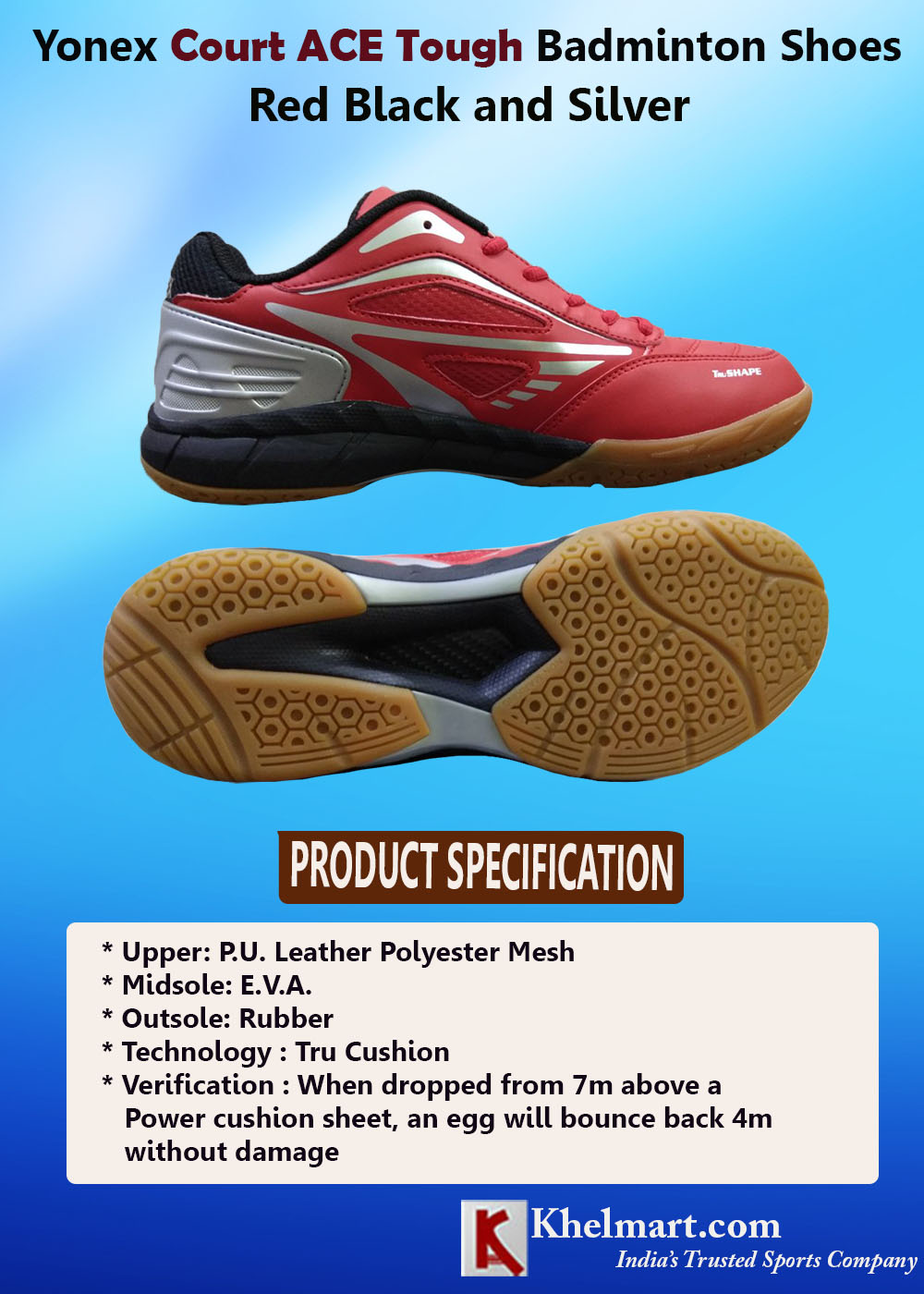 Yonex Court ACE Tough Badminton Shoes Red Black and Silver_6