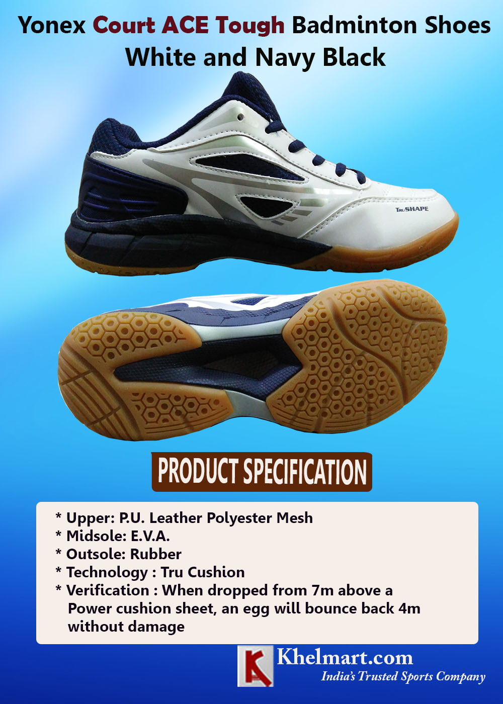 Yonex Court ACE Tough Badminton Shoes White Navy and Black_2