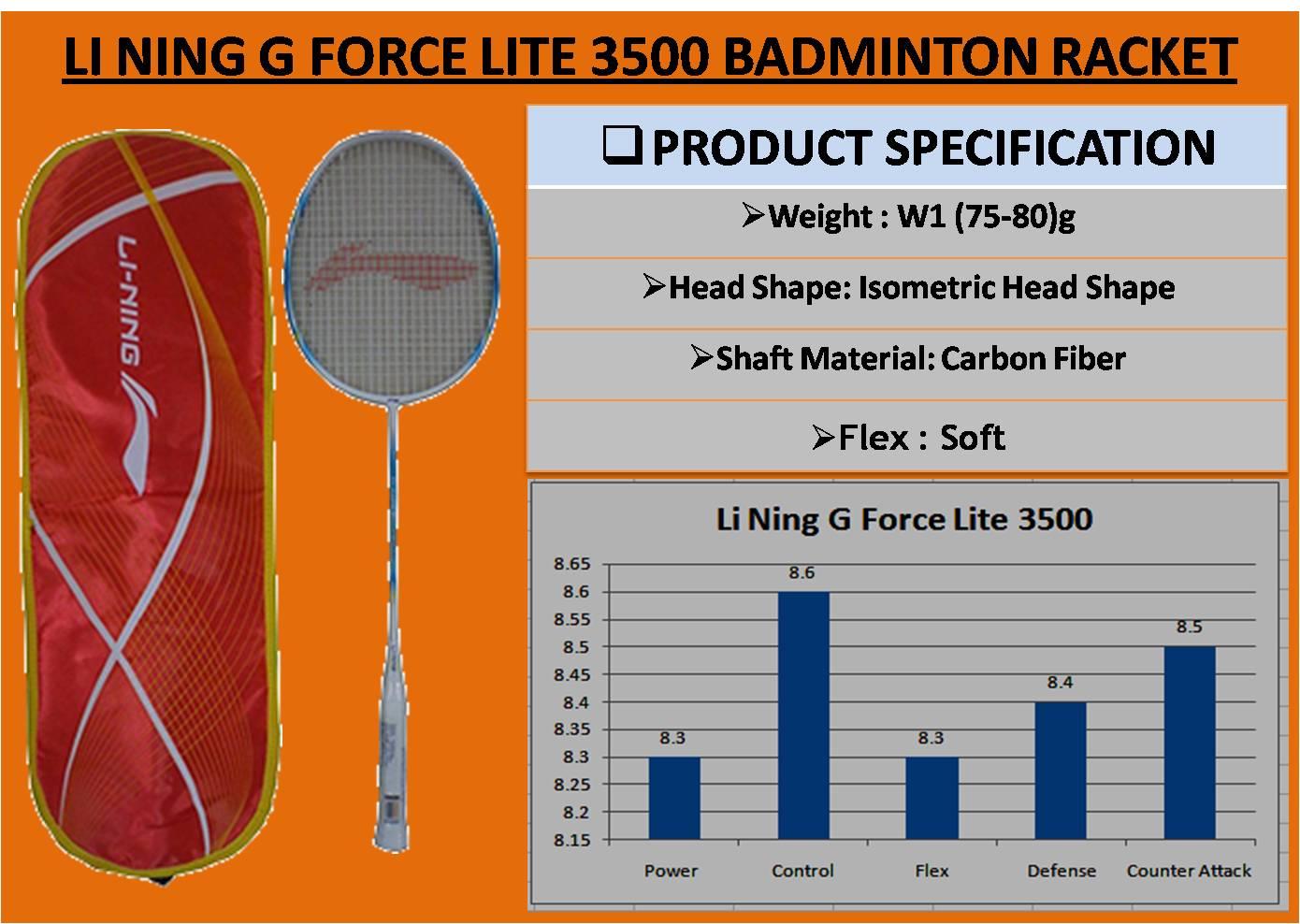 LI NING G FORCE LITE 3500 BADMINTON RACKET