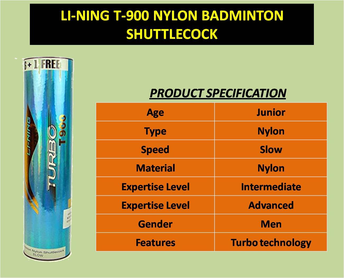 LI-NING T-900 NYLON BADMINTON SHUTTLECOCK