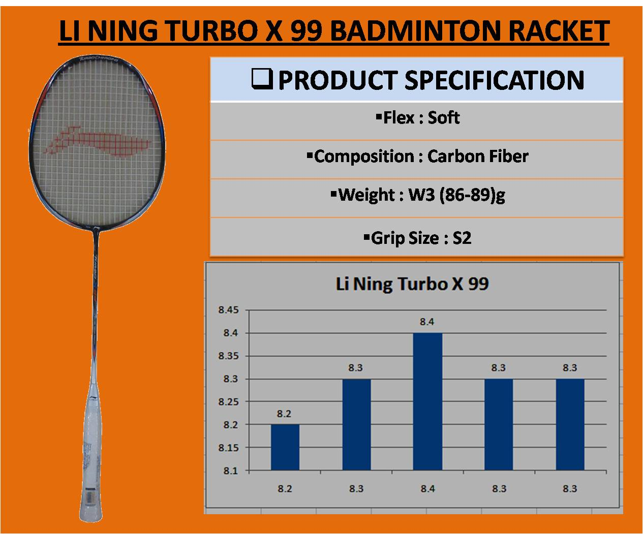 LI NING TURBO X 99 BADMINTON RACKET