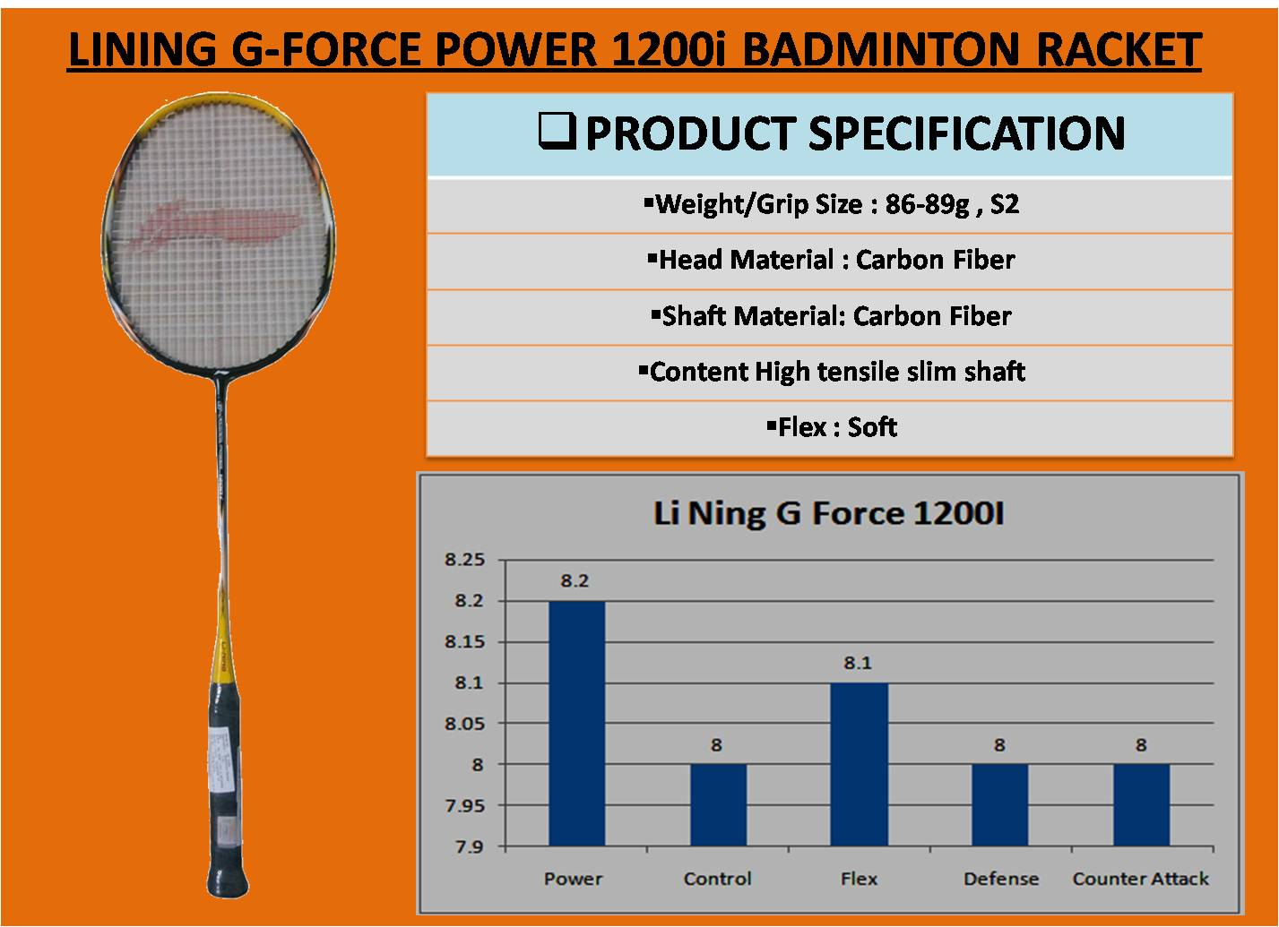 LINING G-FORCE POWER 1200i BADMINTON RACKET_5