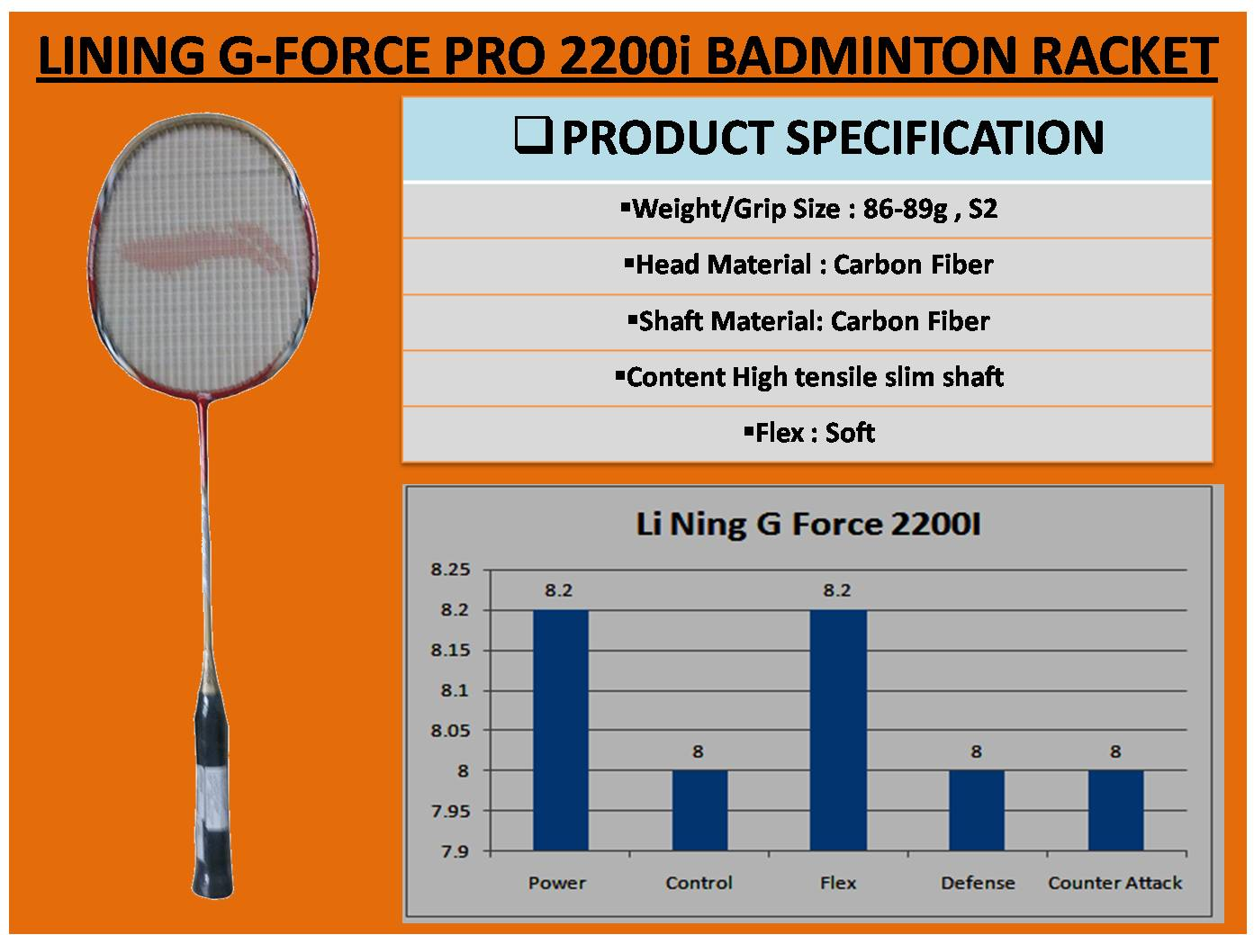 LINING G-FORCE PRO 2200i BADMINTON RACKET_6