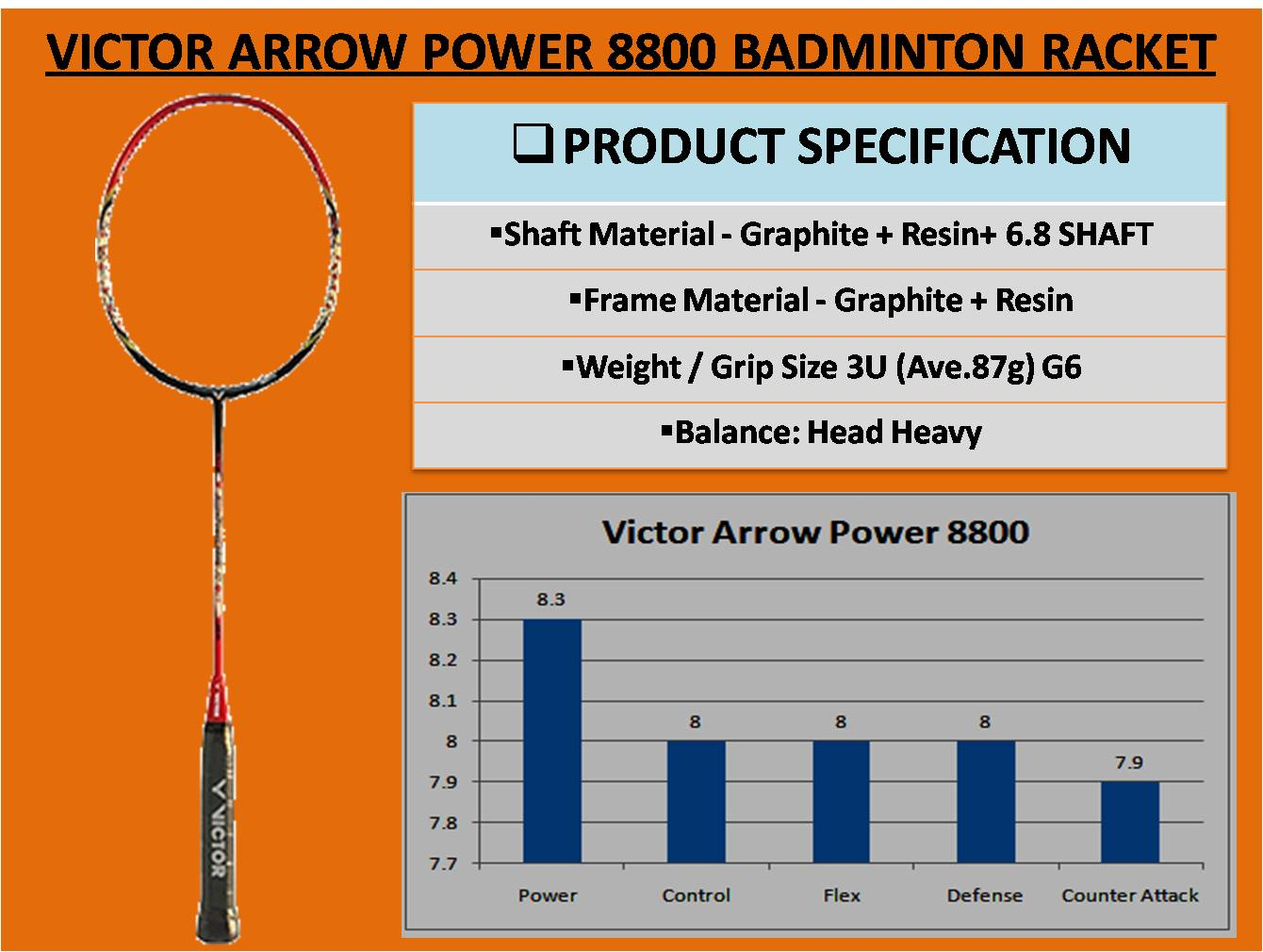 VICTOR ARROW POWER 8800 BADMINTON RACKET_7