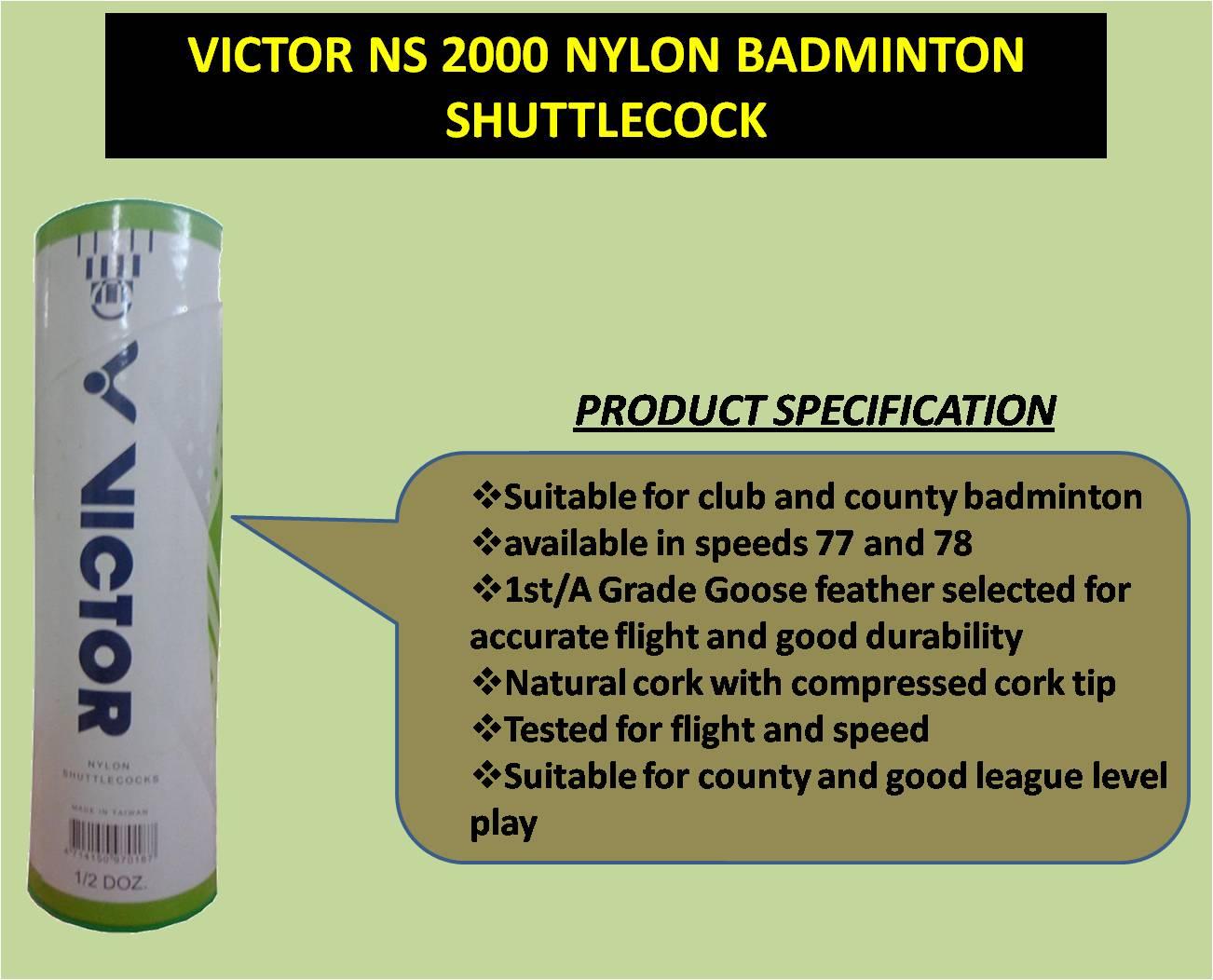 VICTOR NS 2000 NYLON BADMINTON SHUTTLECOCK