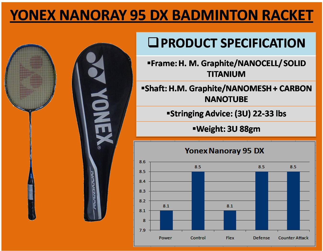 YONEX NANORAY 95 DX BADMINTON RACKET