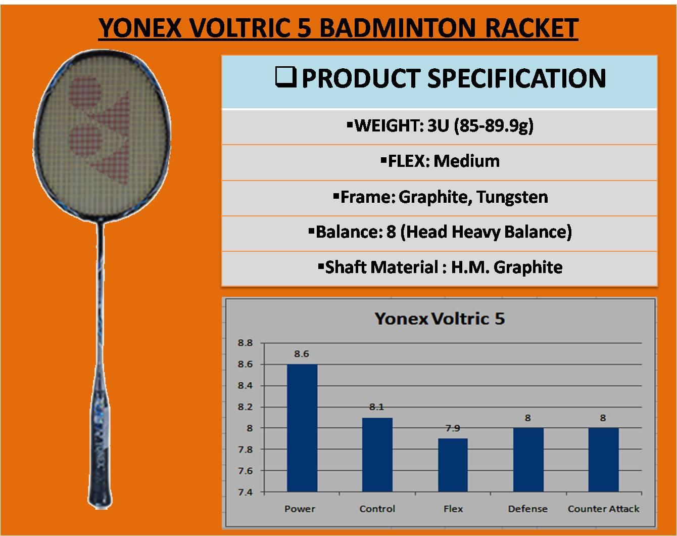 YONEX VOLTRIC 5 BADMINTON RACKET